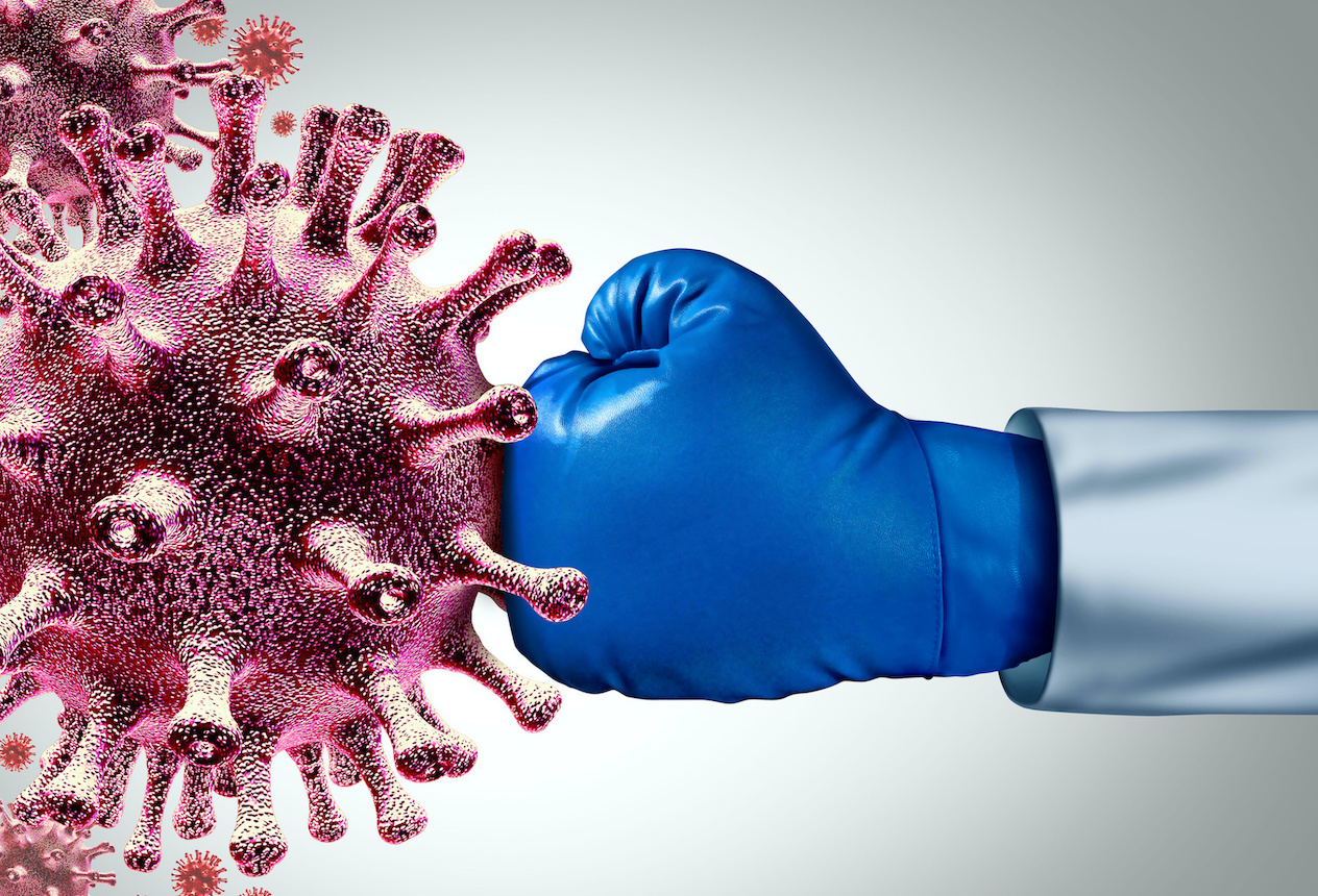 Virus vaccine and flu or coronavirus medical fight disease control as a doctor fighting a group of contagious pathogen cells as a health care metaphor for researching a cure with 3D illustration elements.